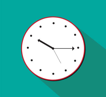 Clock vector illustration flat design with long shadow Illusztráció