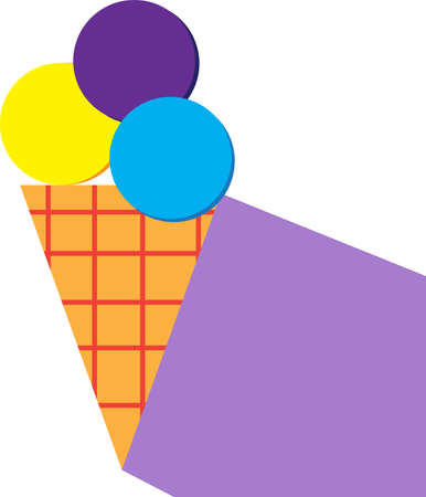 Flat style illustration of ice-cream.