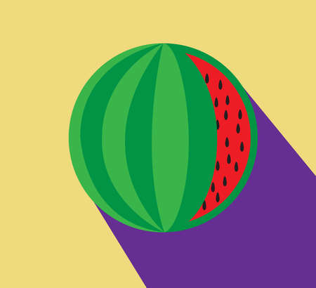 Illustration of watermelon. Modern minimal flat style, vector.