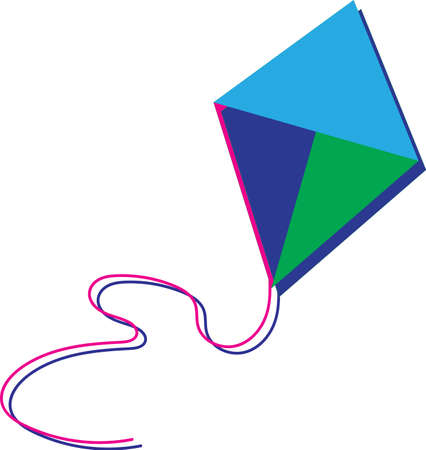 Colorful kite isolated on the white background.