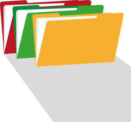 Folders with shadow. Flat style illustration. Vector. Illusztráció