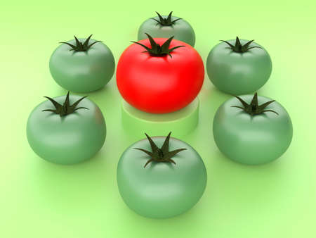 A concept illustration of a red tomato on a pedestal, and around it green unripe tomatoes on the level below. Business concept. 3D Render