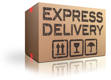 express delivery webshop package order cardboard box fast shipping Stockfoto