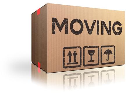 trasloco: Casella commovente traslocazione movimento dentro o fuori abbiamo spostato il pacchetto di cartone Archivio Fotografico
