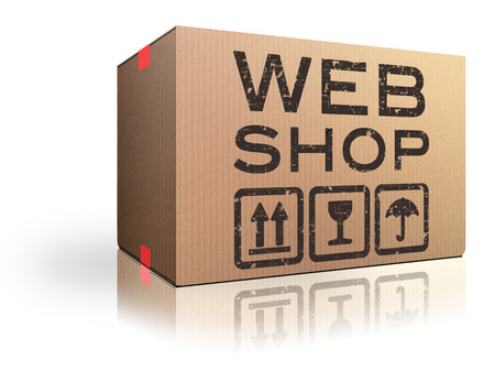 webshop: web shop online shopping icon for internet webshop or store Stock Photo