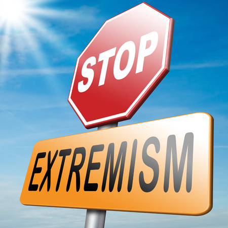 stop extremism political and religion terrorism and discrimination photo