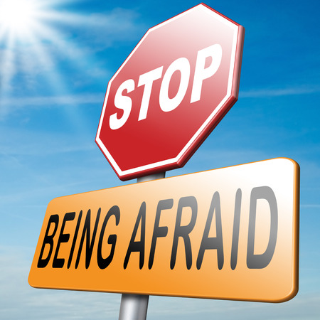 stop being afraid have no fear fear for snakes height needles spiders darkness phobia panic attack Banque d'images