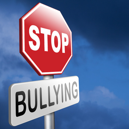 bullies: stop bullying prevention for no bullies at school work or in the cyber internet Stock Photo