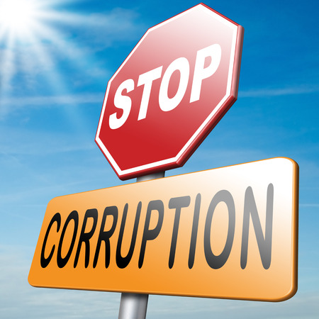 corrupt: stop corruption paying bribery political gouvernment or police can be corrupt