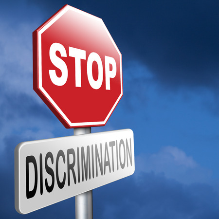 stop discrimination no racism agains minorities equal rigths no homophobia or gender discrimination Banque d'images