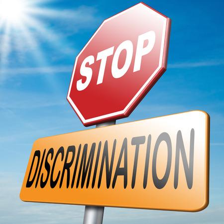 racismo: detener la discriminación DERECHOS iguales sin homofobia o el racismo de género Foto de archivo