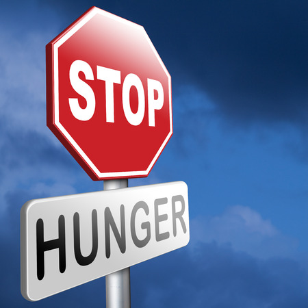 feed the poor: stop hunger suffering malnutrition starvation and famine caused by food scarcity undernourished bad harvest aid Stock Photo