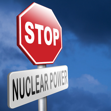gamma: no nuclear power stop radiactivity radio active waste from nuclear power plant danger of radiation and risk of contamination by gamma radiation Stock Photo