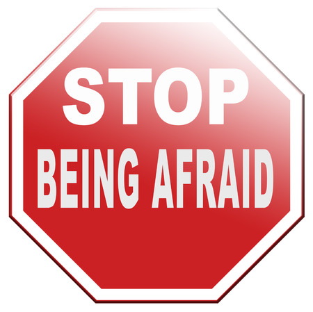 phobia: stop being afraid have no fear fear for snakes height needles spiders darkness phobia panic attack Stock Photo