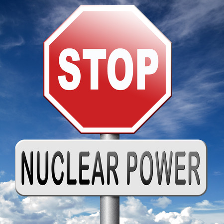 nuclear power: no nuclear energy stop radio active waste from nuclear power plant danger of radiation and risk of contamination by gamma radiation