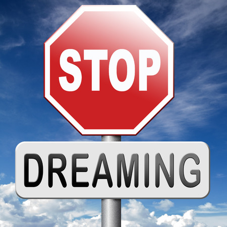 daydreamer: stop dreaming face hard facts reality and check truth Stock Photo
