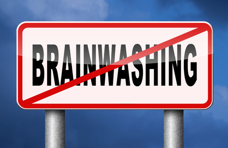 indoctrination: stop brainwashing children and other people no indoctrination or manipulation free rational creative thinking no dogmas or doctrine from religion have you own opinion Stock Photo