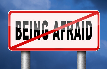 fear: stop being afraid have no fear fear for snakes height needles spiders darkness phobia panic attack Stock Photo