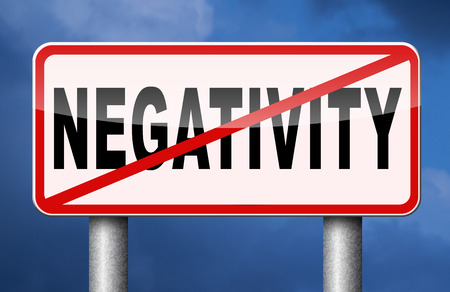negative thinking: no pessimism or negativity think positive stop negative thinking having pessimistic thoughts be positive and optimistic thinking makes you happy Stock Photo