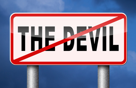 satanism: stop the devil no evil or sinning No more evil or go to hell. resist temptation from demon dont become a sinner, trust in God.