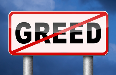 stop greed fair trade solidarity Stockfoto