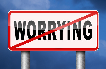 worrying: stop worrying no worries solve all problems keep calm and dont panic, just think positive and overcome problems Stock Photo