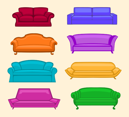 couches: Colorful Sofas Set. Modern, Vintage, Designer, Classic Sofas Collection. Cartoon Couches. Living Room Furniture set