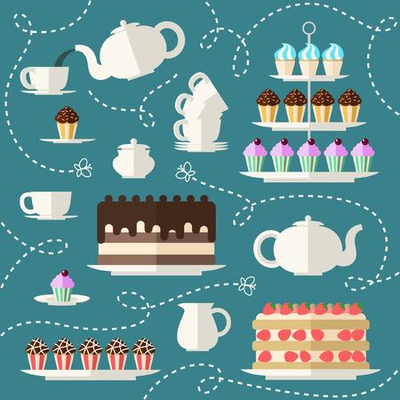 Tea time set. Idealny dla Tea Party Zaproszenie, zaangażowanie święta plakatu. Płaski tle koncepcji. Ilustracje wektorowe