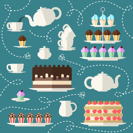 Tea time set. Perfect for Tea Party Invitation, feast engagement, poster. Flat concept background.