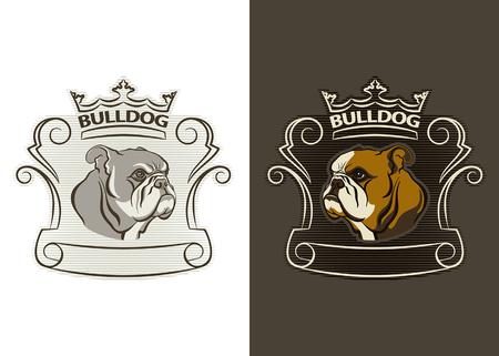 Detaillierte Symbol der Bulldogge Kopf. Bulldog Maskottchen Illustration für Schule, Hochschule Sport-Team-Konzept, Bekleidung Design. Vektorgrafik