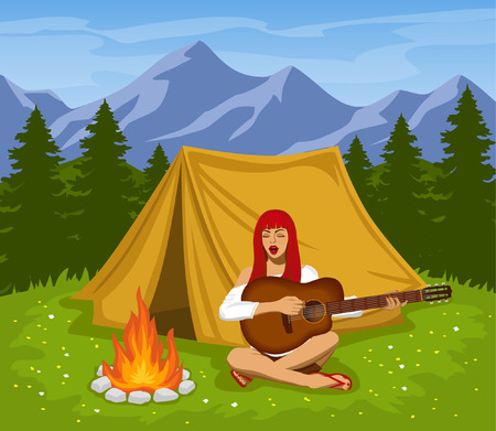 campsite: Campsite with Mountains, Meadow, Pine Trees Illustration. A cute tourist girl sitting at campfire playing guitar and singing. Camping Time. Illustration