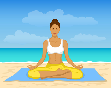 yoga outside: Woman doing Yoga Meditation at the beach  Illustration Illustration