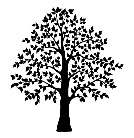 Black Silhuette Tree on white Background