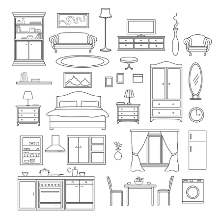 Furniture Items Set in linear simple style. Living Room, Bedroom, Kitchen Interior Elements. Illustration