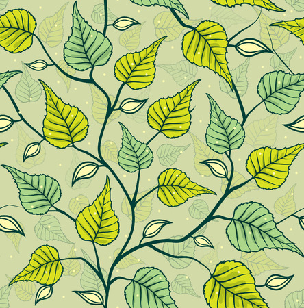 birch leaf: Decorative Seamless Pattern with Leafs (Leaves). Birch leaf repeatable background.Green Foliage texture Illustration