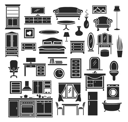 living room furniture: Furniture Items Icons Set. Bedroom, Living Room Furniture, Bathroom Objects, Home Office Furniture, Kitchen Illustration
