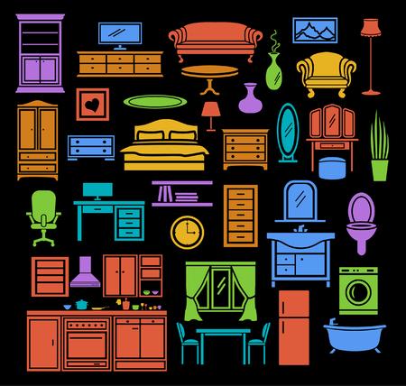 kitchen furniture: Furniture Items Icons Set in Color. Bedroom, Living Room Furniture, Bathroom Objects, Home Office Furniture, Kitchen Colorful Objects
