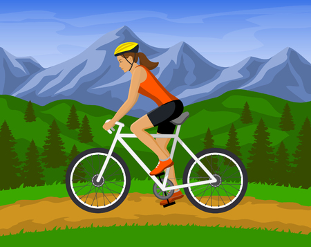 mountain biking: Woman riding mountain bike  vector illustration. outdoor activity. woman cyclist mountain biking outdoor