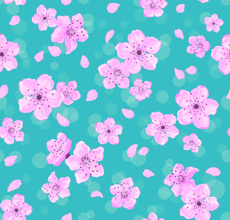 temlate: Skura Flowers Seamless Pattern. Floral Seamless Texture. Spring Background with Cherry Blossom