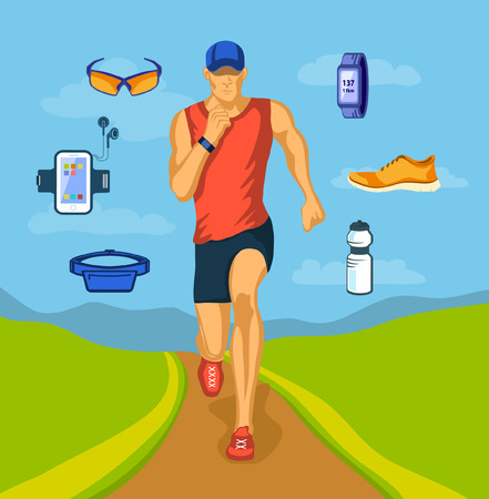 cardio workout: Running Man Outdoor Vector Illustration. Running Gear. Accessories for Run and Outdoor Cardio Workout. Illustration