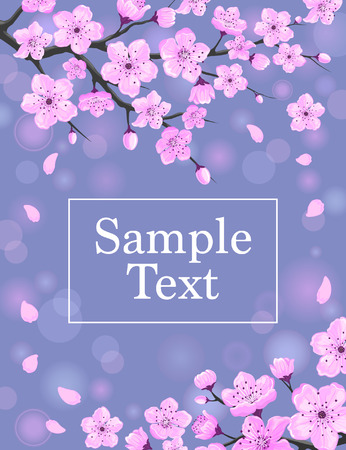 Cherry Blossom Greeting Card. Spring Floral Background Illustration