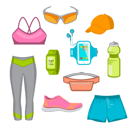 armband: Running Gear For Women. Running Accessories for Female. Fitness Set. Sport Clothes, Cap, Sport Watch, Glasses, Armband, Fitness Drink, Belt Bag, Running Shoes