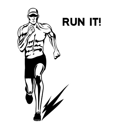 man front view: Run It Motivational Poster. Running Man Front View Vector Illustration