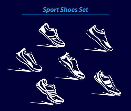 outdoor fitness: Sport Shoes Set. Fitness Shoes Collection. Indoor, Outdoor, Running, Fitness, Tennis, Walking, Training Sport Sneakers.