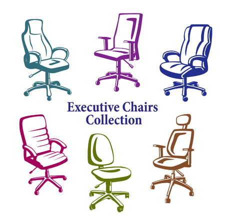 office chairs: Office Chairs Set. Monochrome Executive Armchairs Collection