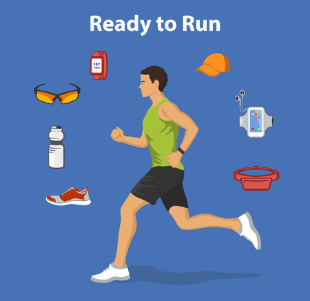 running: Ready to run Vector Illustration. Running Gear for Man. Running accessories and Gadgets For Outdoor Cardio Work Out. Belt bag, sport glasses, sport clothes, fitness bottle, armband, cap, fitness shoes, GPS watch. Jogging Man