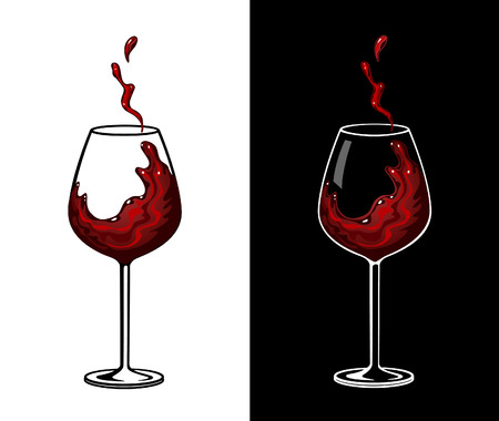 tee shirt template: Red Wine Glass Vector Illustration. Wine Splash
