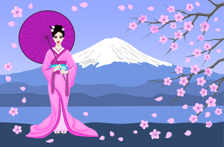 Japanese Geisha in Traditional Kimono Vector Illustration. Mountain Fuji, Sakura Tree Branches and Flowers Scene