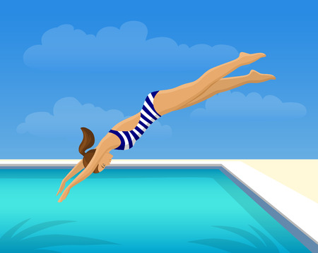 Woman Jumping Diving in Swimming Pool. Outdoor Fun Activity Vector Illustration. Vector Illustration