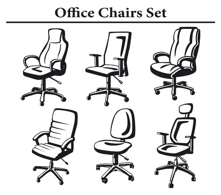 armchairs: Office Chairs Set. Monochrome Executive Armchairs Collection